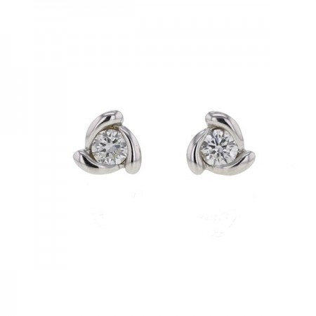Boucles d'oreilles solitaires diamants avec griffes torsadées   en or blanc 9 carats - Henka