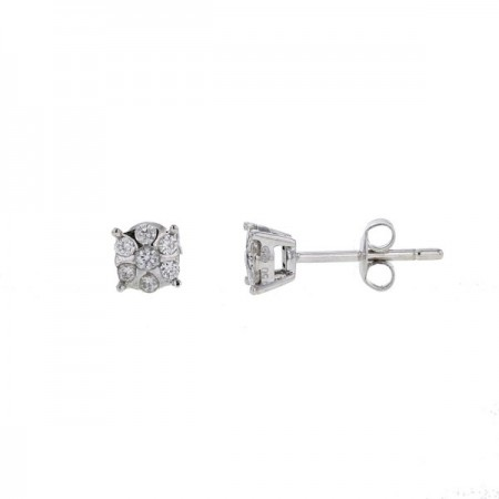 Boucles d'oreilles mutli-pierres diamants en or blanc 18 carats - Orlando