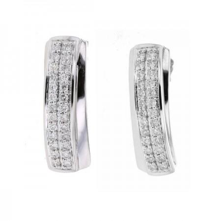 Boucles d'oreilles pavé diamants en or blanc 9 carats - Giulia