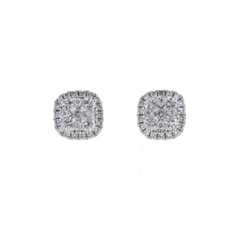Boucles d'oreilles multi-pierres diamants  en or blanc 9 carats - Orlando