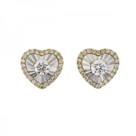 Boucles d'oreilles coeurs sertis CNC  en or jaune 18 carats - Hava