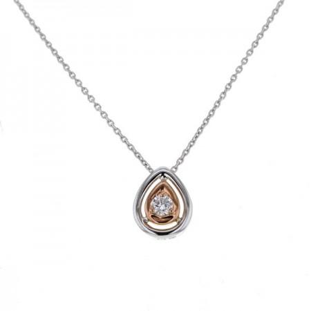 Collier solitaire diamants goutte détail or rose  en or blanc 9 carats - Eleno