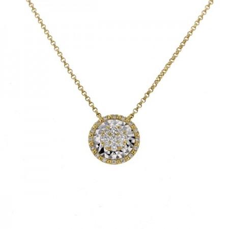 Collier rond diamants sertis CNC  en or jaune 18 carats - Hava