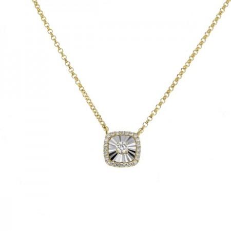 Collier carré diamants sertis CNC  en or jaune 18 carats - Hava