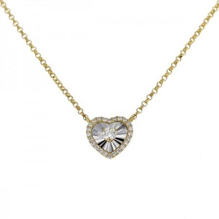 Collier cœur diamants sertis CNC  en or jaune 18 carats - Hava