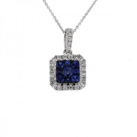 Pendentif carré diamants saphir  en or blanc 18 carats - Morgane
