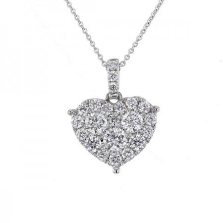 Pendentif coeur diamants en or blanc 18 carats - Nazalie