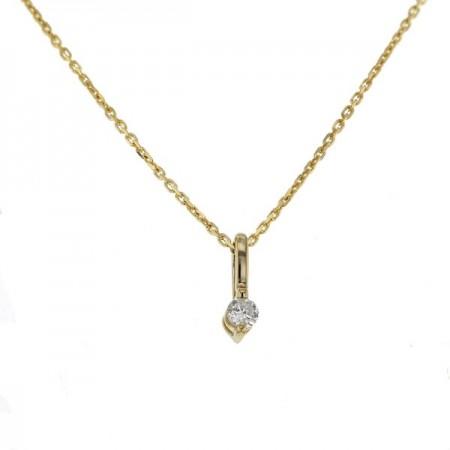 Pendentif solitaire diamants serti avec 2 griffes  en or jaune 9 carats - Pompéa