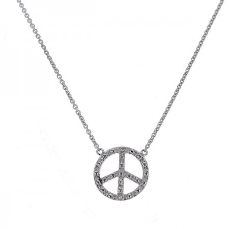 "Collier chaîne ""Peace and love"" et diamants en or blanc 9 carats - Sinsemilia"