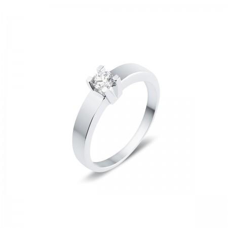 Solitaire moderne diamant serti sur quatre griffes  en or blanc 18 carats - Luba
