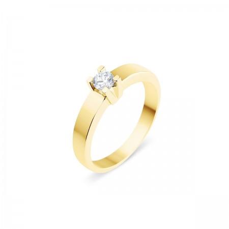 Solitaire moderne diamant serti sur quatre griffes  en or jaune 18 carats - Luba