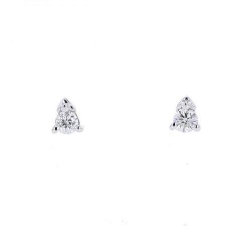 Boucles d'oreilles solitaire 3 griffes  en or blanc 18 carats - Yannamari