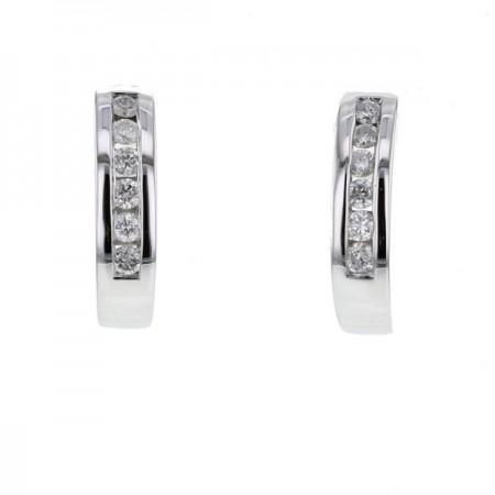 Boucles d'oreilles demi-créoles avec diamants  en or blanc 18 carats - Mina