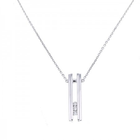 Collier trilogie de diamants  en or blanc 18 carats - Janika