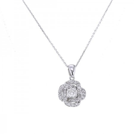 Collier solitaire diamant accompagné  en or blanc 18 carats - Forever