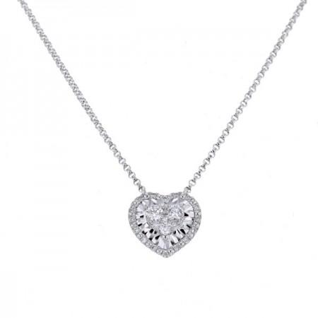 Collier coeur diamants serti CNC  en or blanc 18 carats - Hava