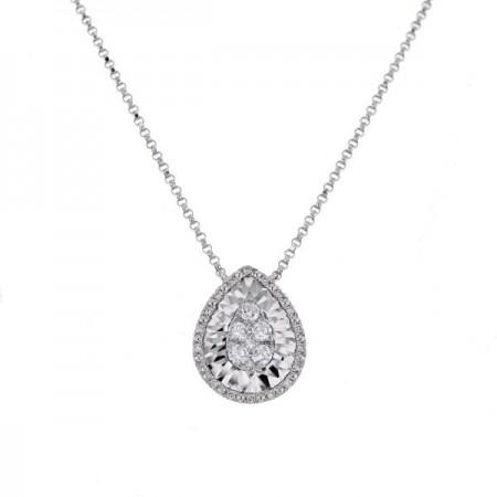 Collier poire diamants sertis CNC en or blanc 18 carats - Hava
