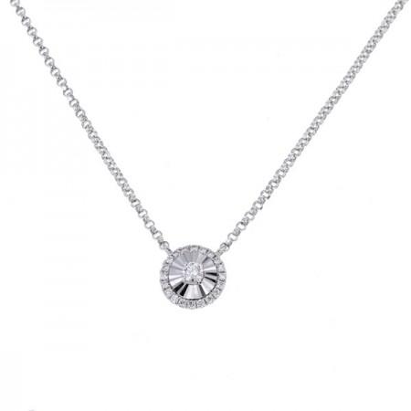 Collier rond diamants sertis CNC  en or blanc 18 carats - Hava