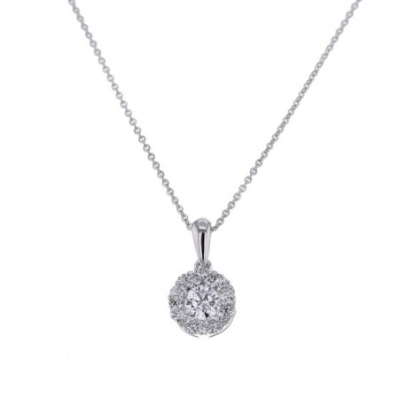 Pendentif rond multi-pierres diamants en or blanc 18 carats - Dottie