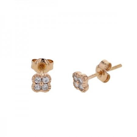 Boucles d'oreilles trèfles avec diamants PM  en or rose - Stella