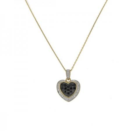 Collier Pendentif coeur diamants noirs et blancs en or jaune - Josie