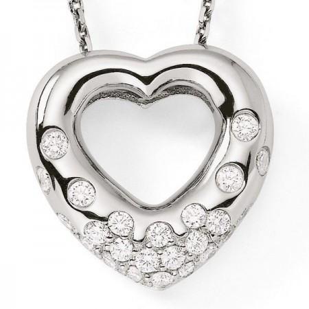 Pendentif coeur pavé diamants en or blanc - Kosma