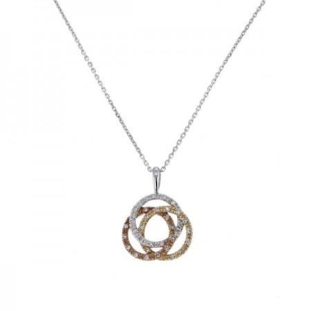 Collier trois anneaux tricolores diamantés  en or blanc - Stanley