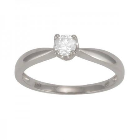 Solitaire diamant chaton découpe coeur 4 griffes en or blanc - Ilsa