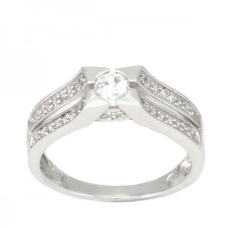 Bague solitaire diamant serti étoilé accompagné en or blanc - Tela