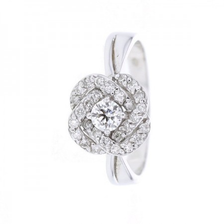 Bague solitaire accompagné diamants en or blanc 18 carats - Forever