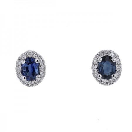 Boucles d'oreilles saphirs accompagnées de diamants   en or blanc - Munich
