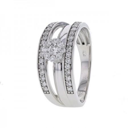 Bague solo diamants illusion accompagé de côtés pavés en or blanc - Edeline