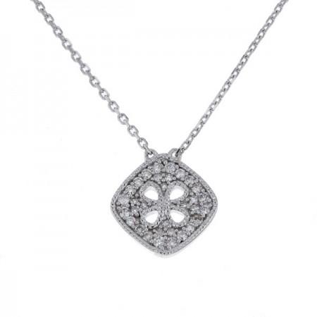 Collier carré pavé de diamants en or blanc - Mélancolie
