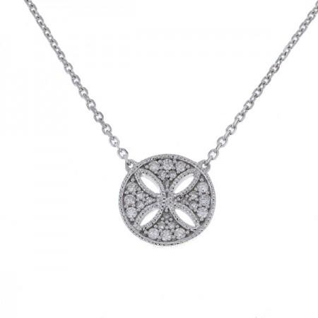 Collier ronde pavé de diamants en or blanc - Mélancolie