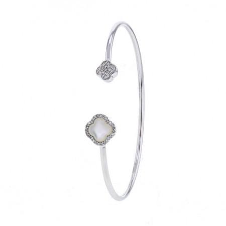 Bracelet jonc canne avec fleurs en nacre et diamants en or blanc - Senzia