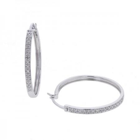 Boucles d'oreilles créoles pavées de diamants en or blanc 18 carats - Eolia