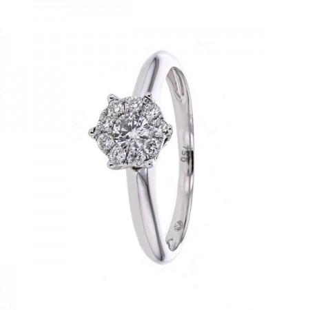 Bague solitaire multi-pierres diamants en or blanc - Eskima