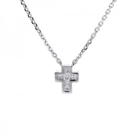 Collier croix diamants en or blanc - Sinsemilia