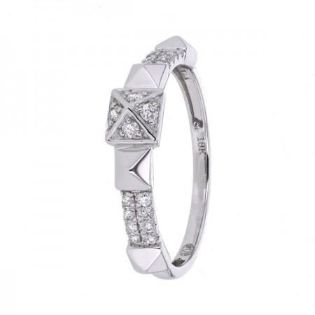 Bague clous pavés de diamants en or blanc - Valentina