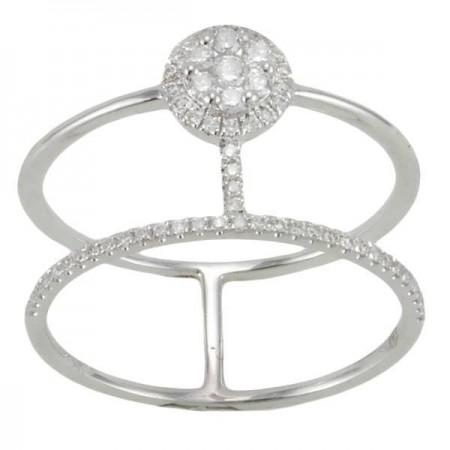 Bague deux anneaux diamants en or blanc - New York