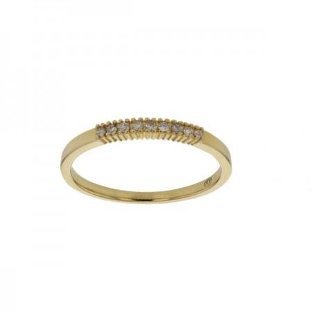 Demi-alliance diamants sertis quatre griffes  en or jaune 18 carats - Aura