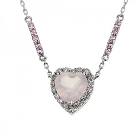 Collier cœur en quartz rose et diamants en or blanc - Simona