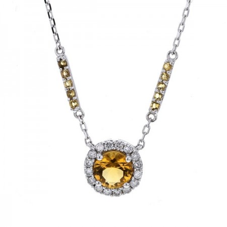 Collier citrine et diamants  en or blanc - Simona
