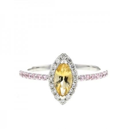 Bague citrine et quartz rose et diamants en or blanc - Simona