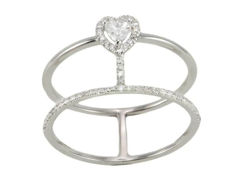 Bague diamants deux anneaux cœur en or blanc - Manhattan
