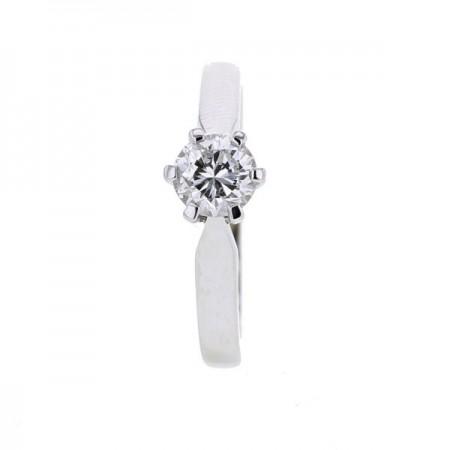 Solitaire simple classique diamant monté quatre griffes  en or blanc - Galia