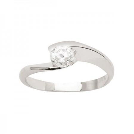Solitaire torsadé diamant serti demi-clos  en or blanc 18 carats - Lilia