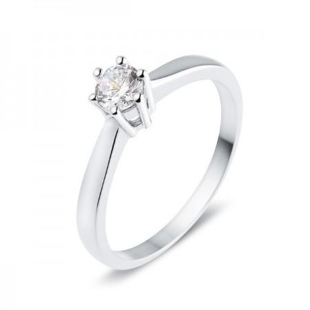 Solitaire simple classique diamant monté quatre griffes  en or blanc 9 carats - Galia