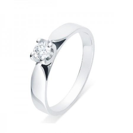 """Solitaire diamant monté sur chaton """"U"""" quatre griffes  en or blanc 18 carats - Elza"""