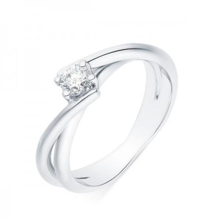 Solitaire rubans croisés diamant serti sur quatre griffes en or blanc 18 carats - Venera